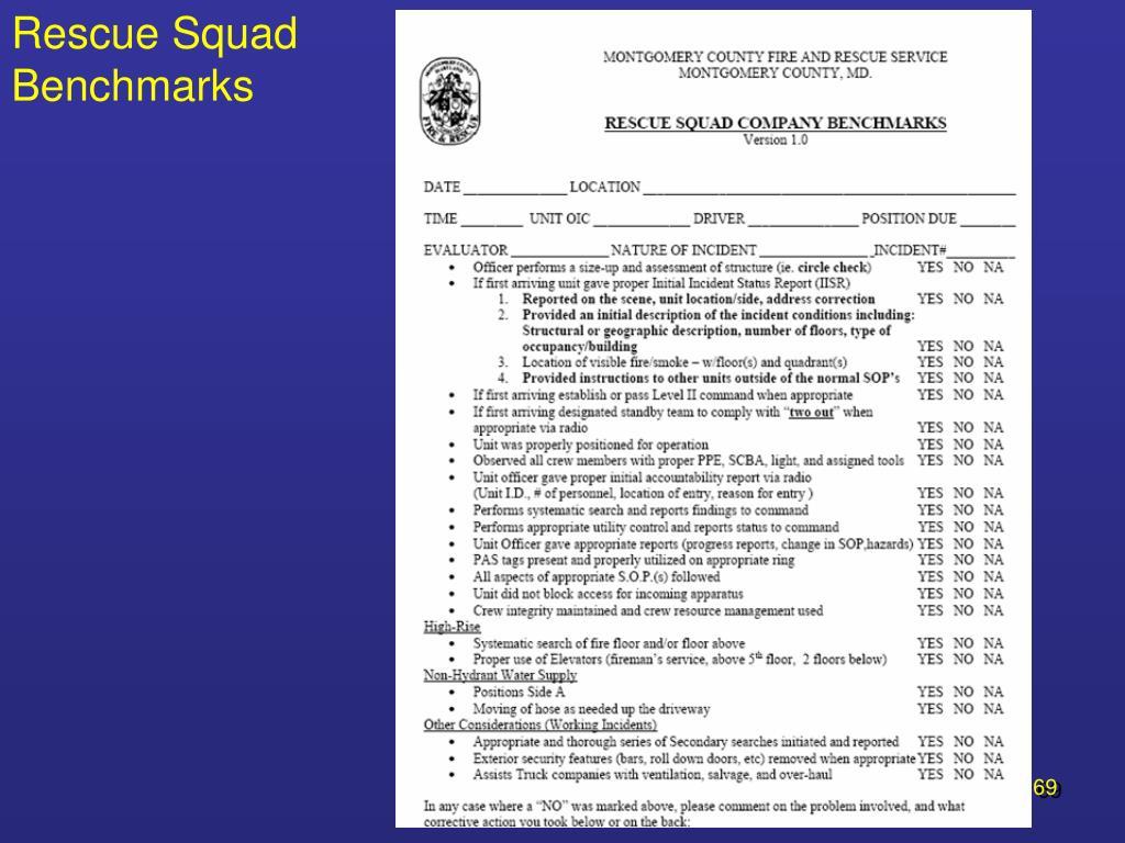 Rescue Squad Benchmarks