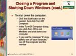 closing a program and shutting down windows cont1