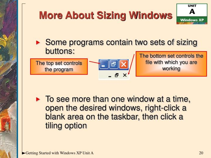 Some programs contain two sets of sizing buttons: