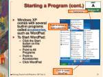 starting a program cont