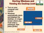 starting windows and viewing the desktop cont
