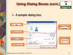 using dialog boxes cont