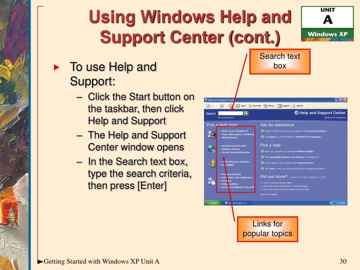 Using Windows Help and Support Center (cont.)