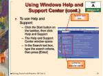 using windows help and support center cont