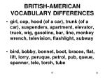 british american vocabulary differences