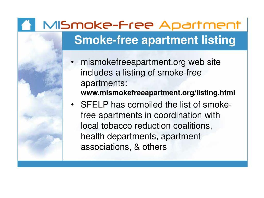 Smoke-free apartment listing