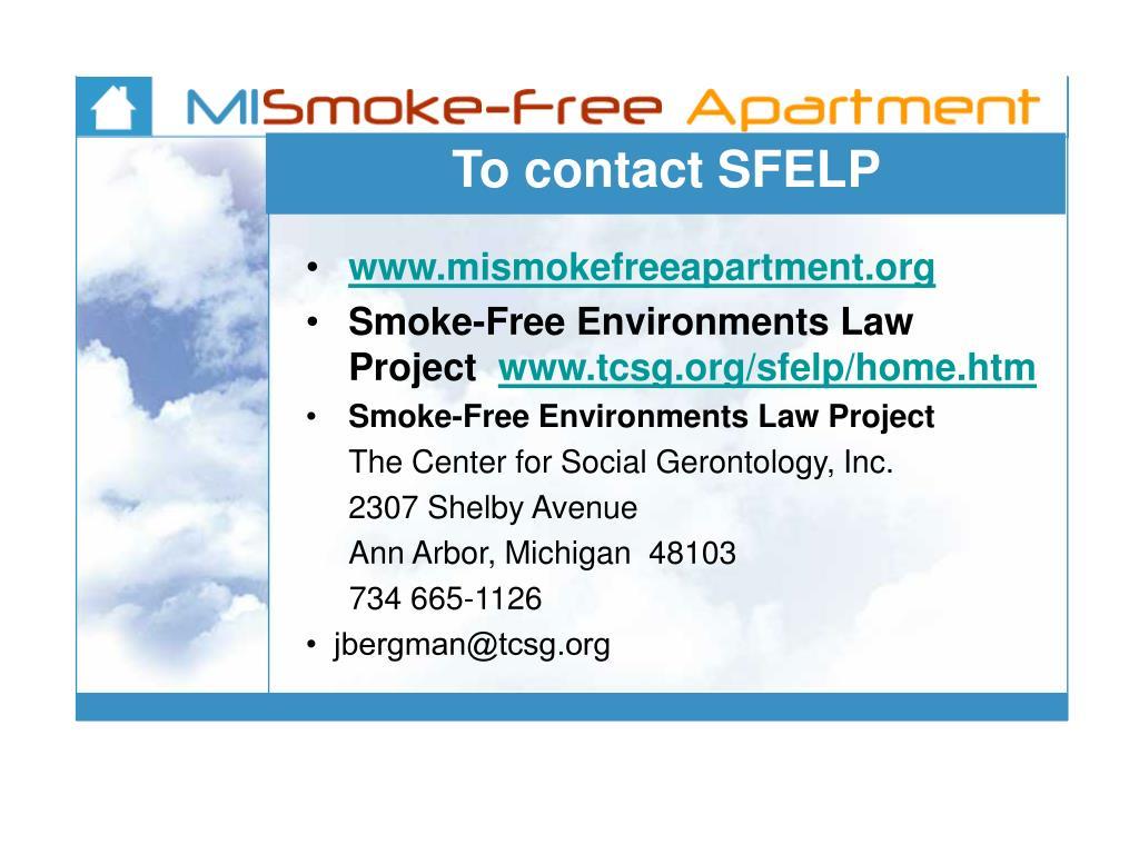 To contact SFELP