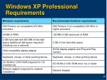 windows xp professional requirements