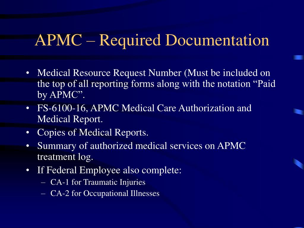 APMC – Required Documentation
