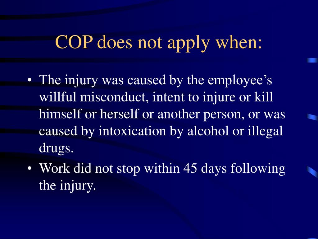 COP does not apply when: