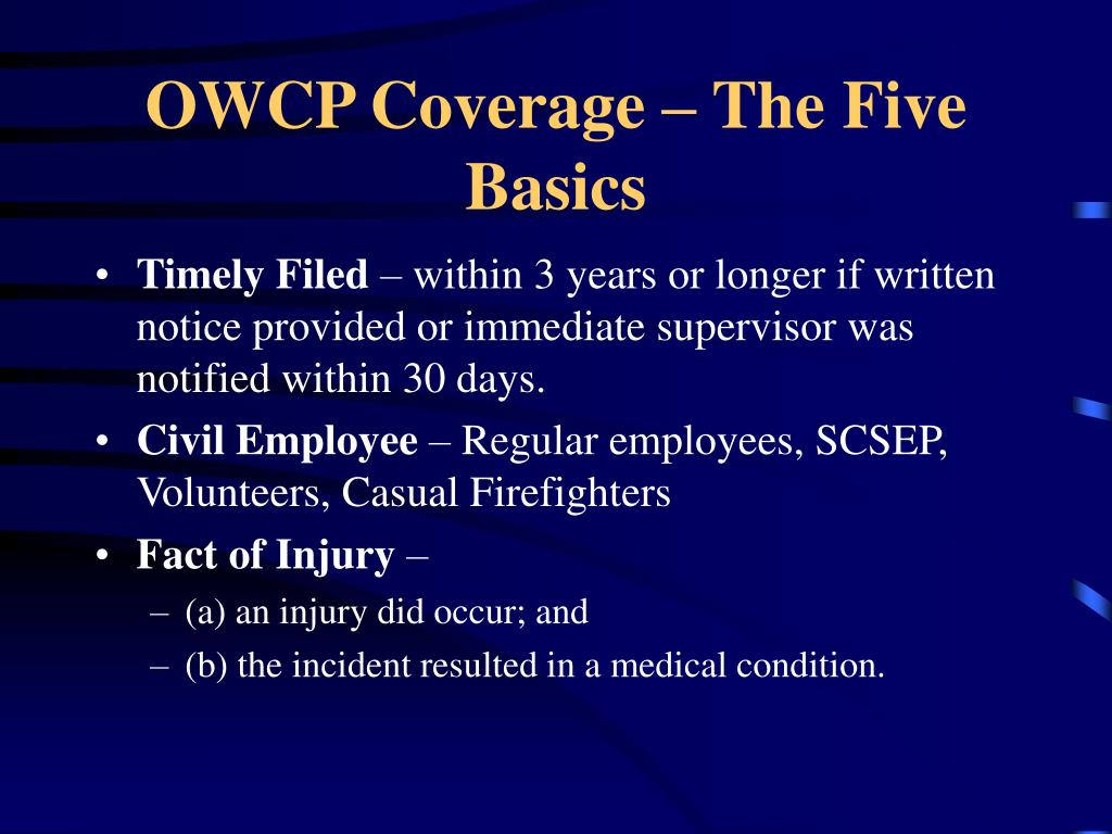 OWCP Coverage – The Five Basics