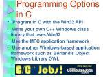 windows programming options in c
