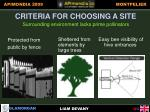criteria for choosing a site