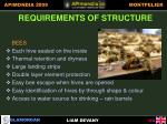 requirements of structure bees