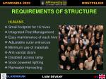 requirements of structure humans