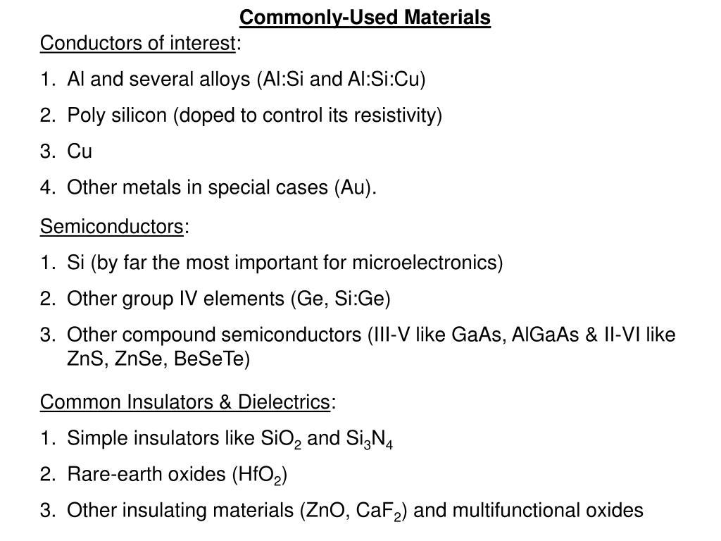 Commonly-Used Materials