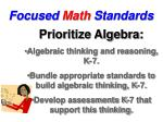 focused math standards