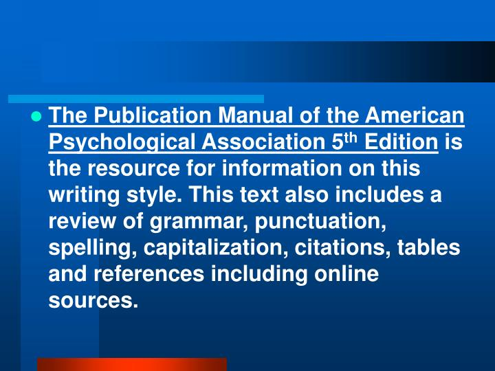 The Publication Manual of the American Psychological Association 5