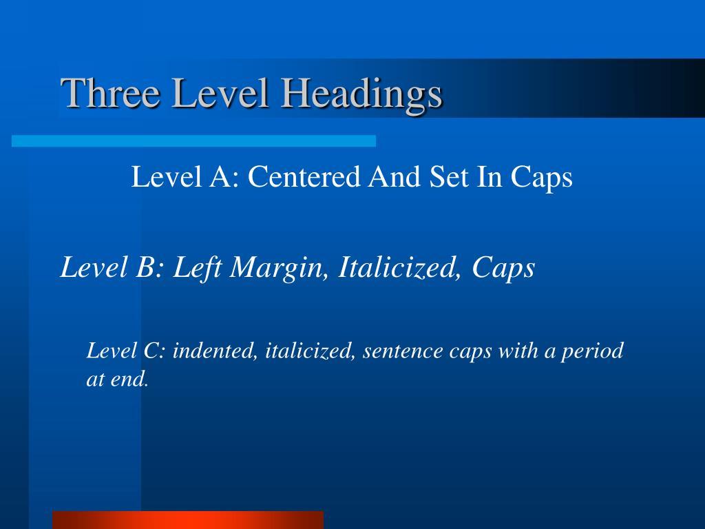 Three Level Headings