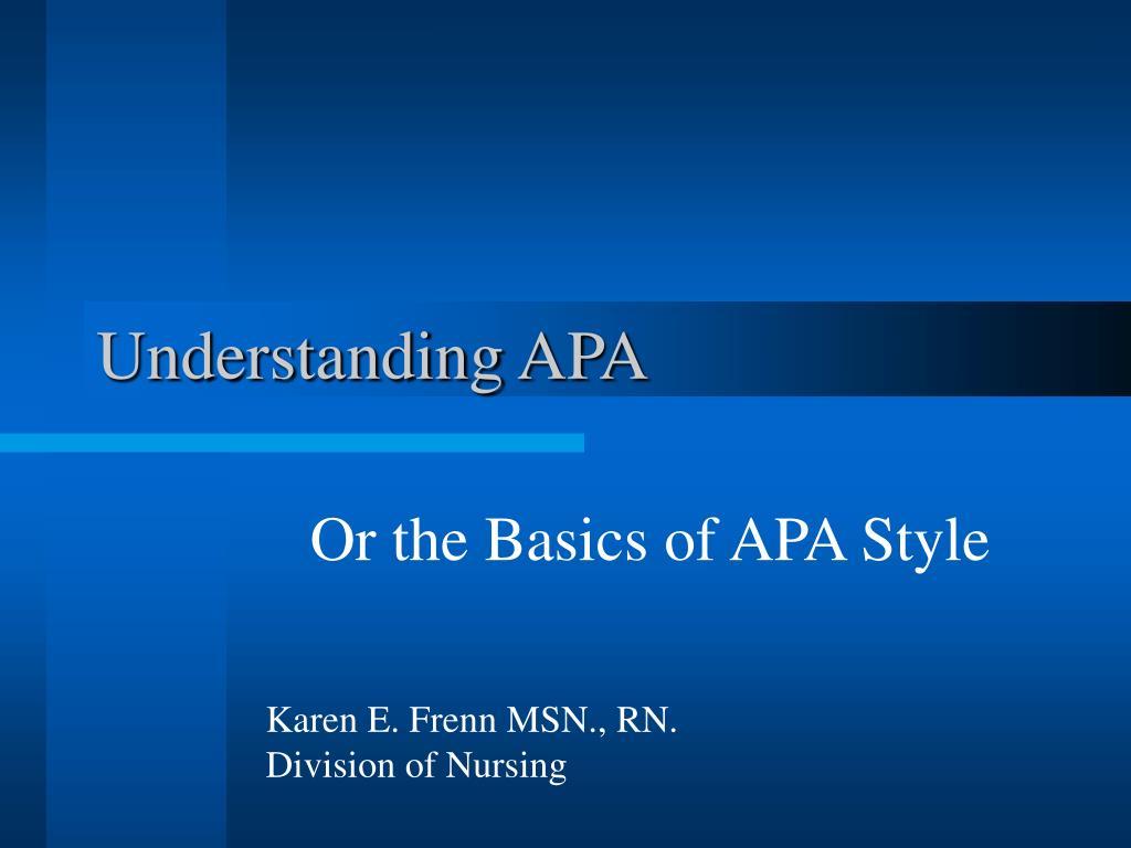 Understanding APA