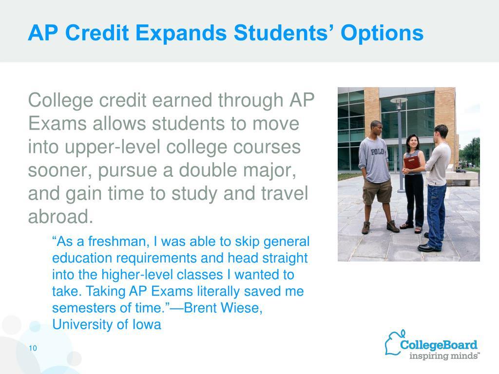 AP Credit Expands Students' Options