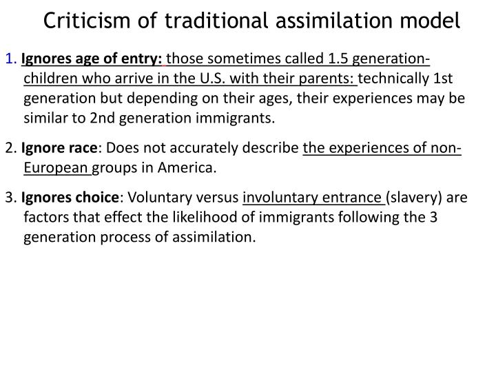 Criticism of traditional assimilation model