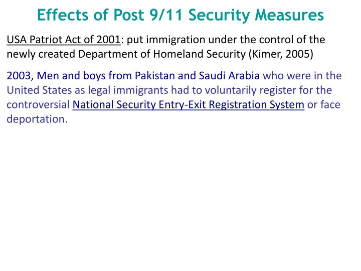 Effects of Post 9/11 Security Measures