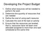 developing the project budget