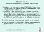 standard d20 03 standard test method for distillation of road tars