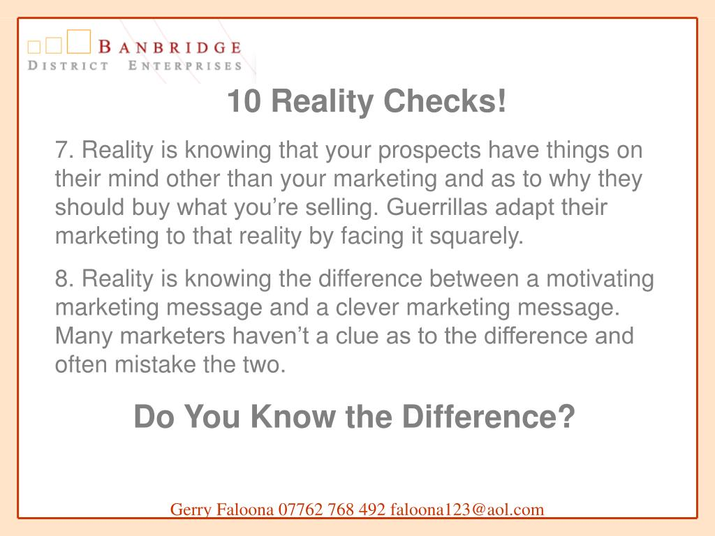 10 Reality Checks!