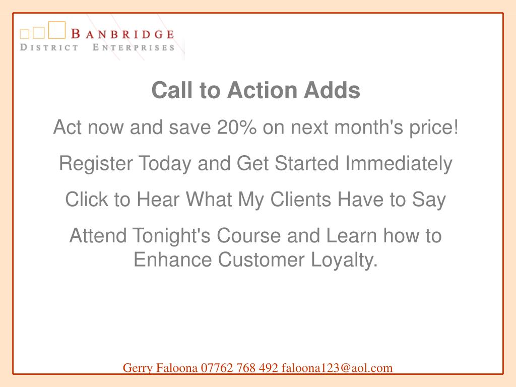 Call to Action Adds