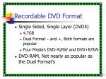 recordable dvd format