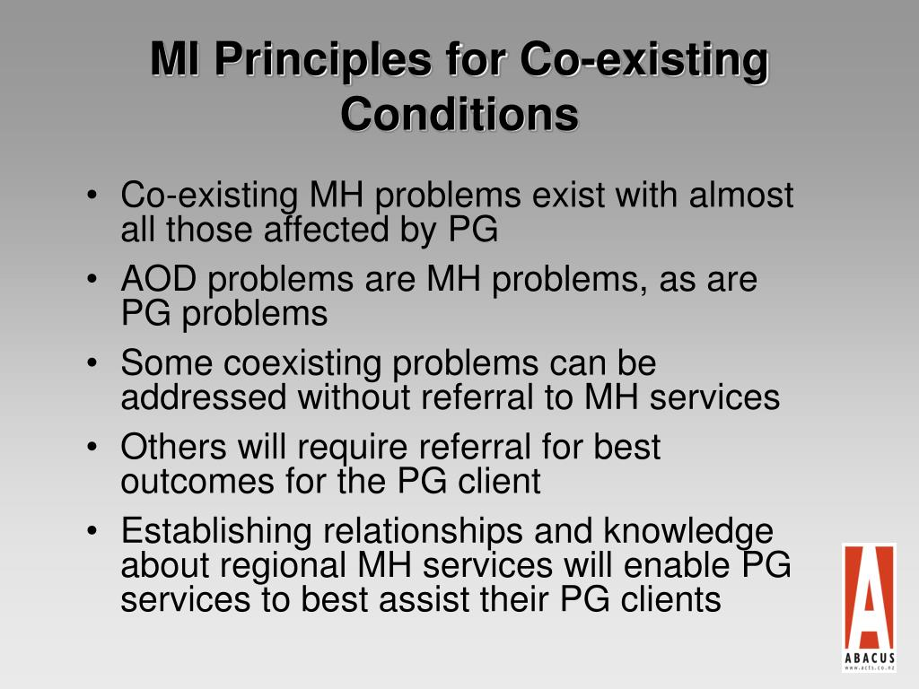 MI Principles for Co-existing Conditions