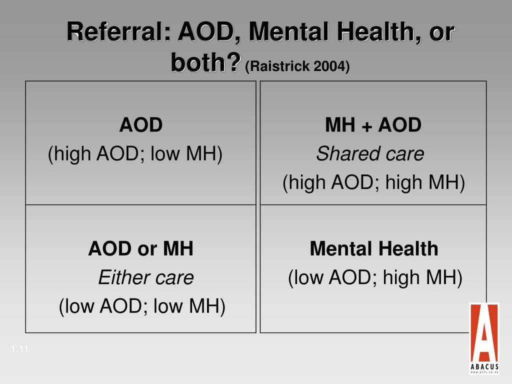 Referral: AOD, Mental Health, or both?