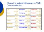 measuring national differences in pwp country selection11