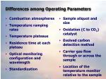 differences among operating parameters