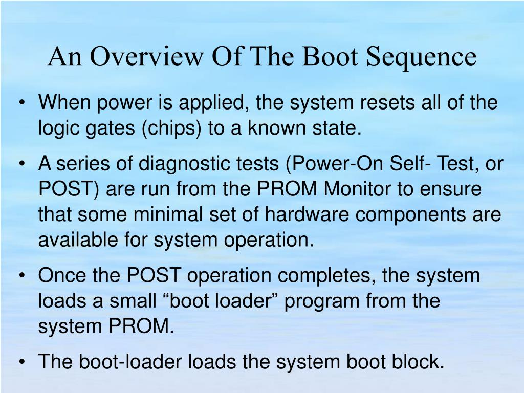 When power is applied, the system resets all of the logic gates (chips) to a known state.