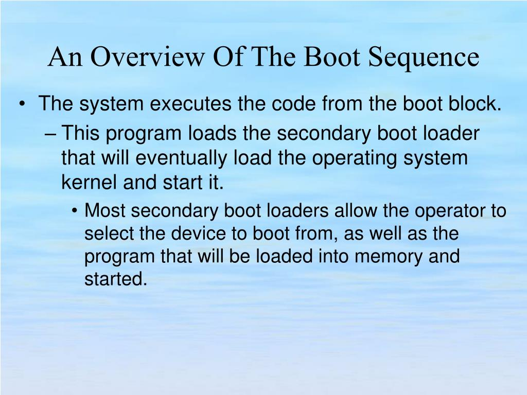 The system executes the code from the boot block.