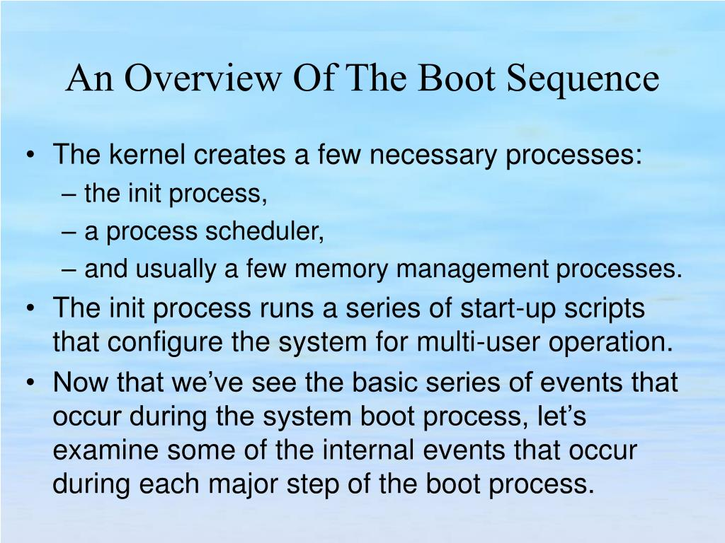 The kernel creates a few necessary processes: