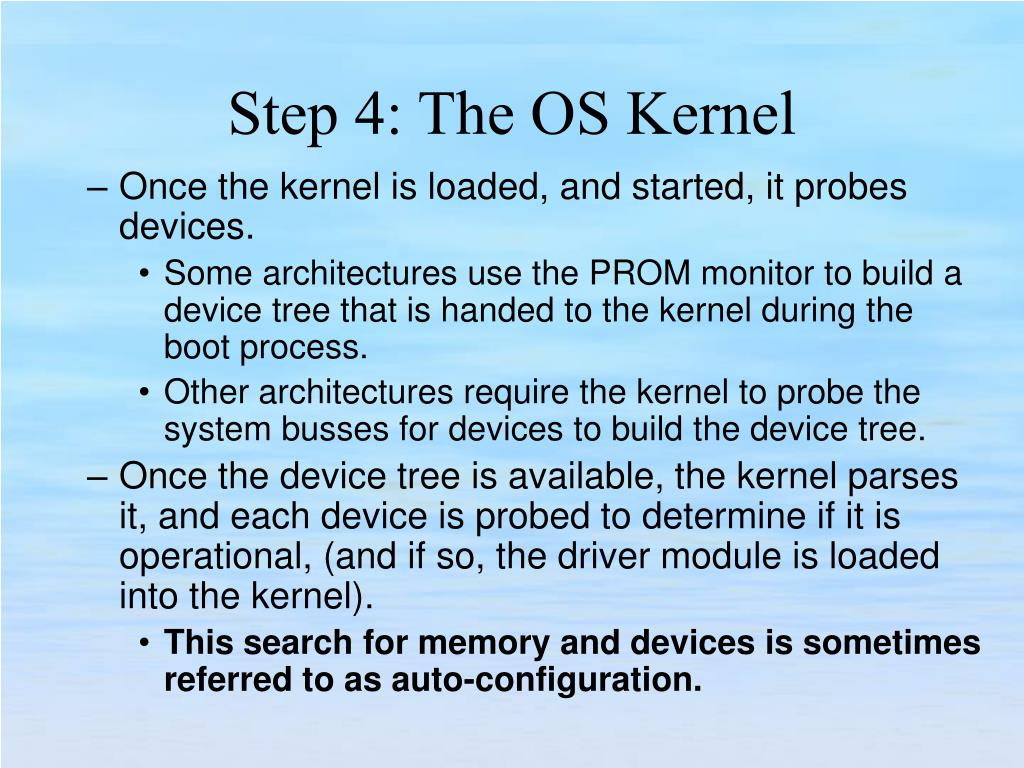 Once the kernel is loaded, and started, it probes devices.