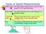 types of speed measurements