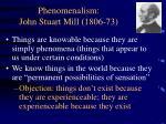 phenomenalism john stuart mill 1806 73