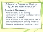 college wide counterpart meetings by unit and academic division