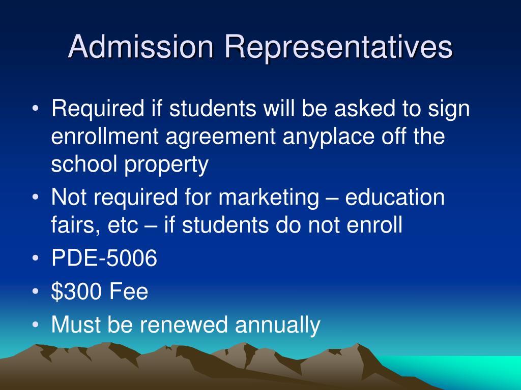 Admission Representatives
