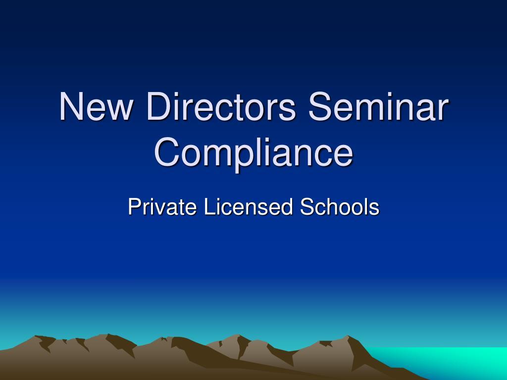 New Directors Seminar