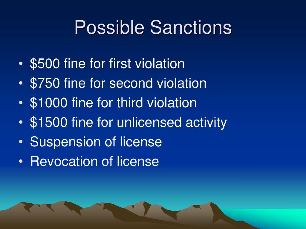 Possible Sanctions