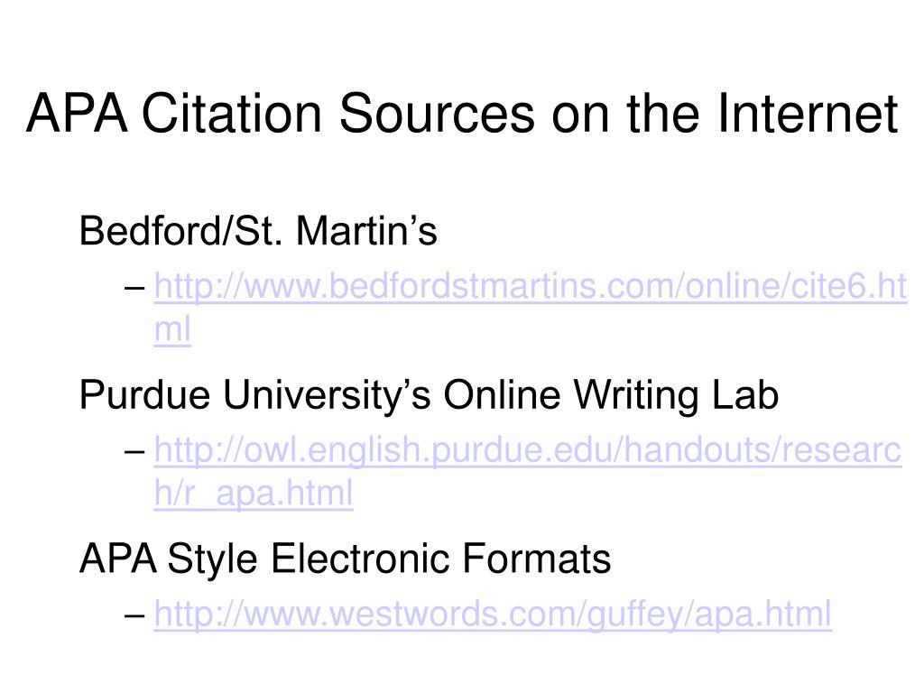 APA Citation Sources on the Internet