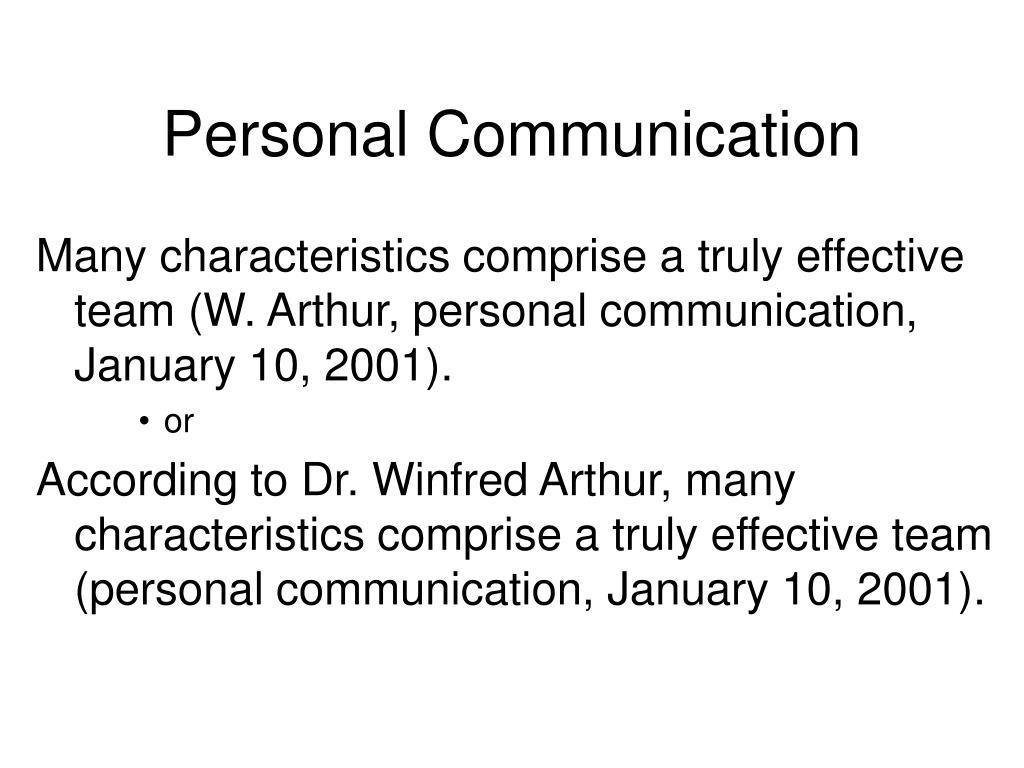 Personal Communication