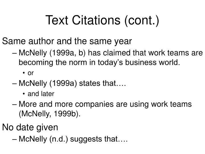 Text citations cont