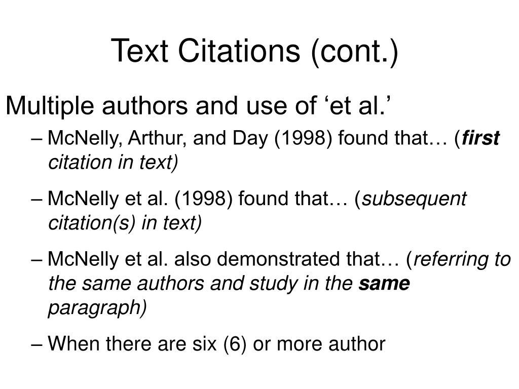 Text Citations (cont.)